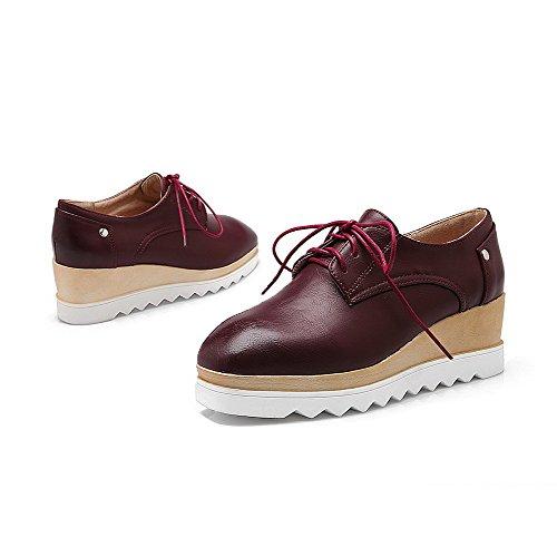 AllhqFashion Damen Mittler Absatz Weiches Material Schnüren Quadratisch Zehe Pumps Schuhe Rot