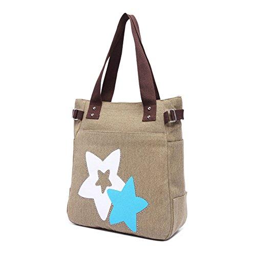 VRIKOO Womens Fashion Casual Canvas Handbag Portable Shopping Tote Shoulder Bags Cachi