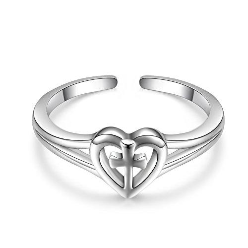 Einstellbar Kreuz Ringe 925 Sterling Silber Liebe Kreuz Ringe poliert veränderbare christliche Herz Versprechen Ringe für Frauen (Kreuz ringe) (Passende Kreuz Eheringe)