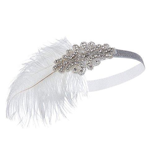1920er Jahren große Gatsby Flapper Stirnband mit Feder Perle Kopfschmuck (Roter-teppich-themen-abschlussball)