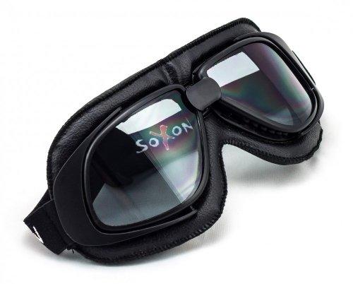 SOXON SG-300 Night Oldtimer Motorrad-Brille Vintage Ski-Brille Flieger-Brille Sport-Brille Scooter Vespa Goggles Pilot Cruiser Jet-Brille Biker Schutz-Brille, Leder Design, Schwarz/Schwarz, Einheitsgröße
