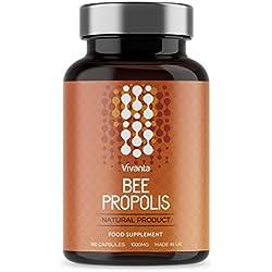 Bee Própolis - Propóleo de abeja - 1000 mg x 180 cápsulas | Suministro de 6 meses | Propolis (propóleos) de la más alta calidad - propóleos hecho en el Reino Unido | Propolis fuente de bioflavonoides