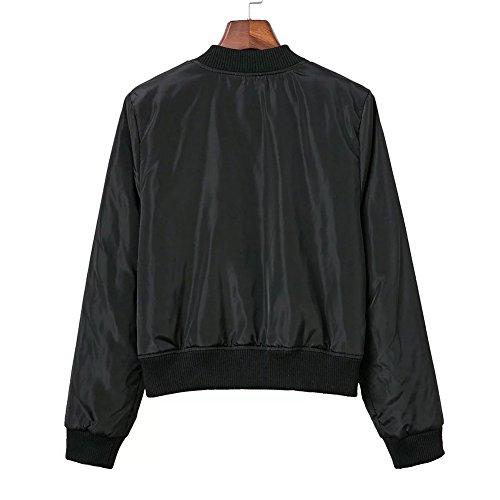 Damen Reißverschluss Bomberjacke Pilotenjacke Vintage Kurze Jacke Schwarz
