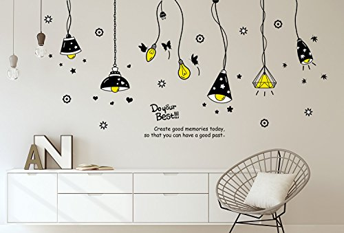 Solimo Wall Sticker for Living Room (Light on!,  ideal size on wall: 175 cm x 85 cm)