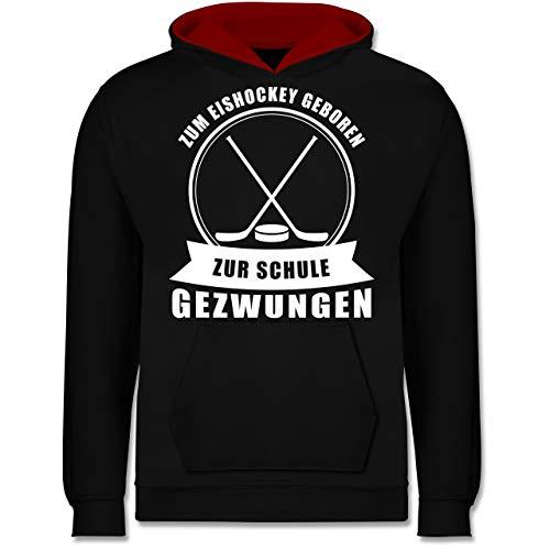 Sport Kind - Zum Eishockey geboren. Zur Schule gezwungen - 12-13 Jahre (152) - Schwarz/Rot - JH003K - Kinder Kontrast Hoodie