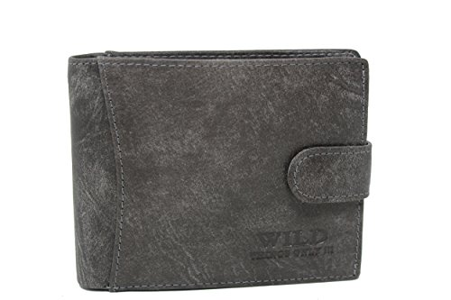 Porte-monnaie en cuir avec bouton-pression pour homme - gris