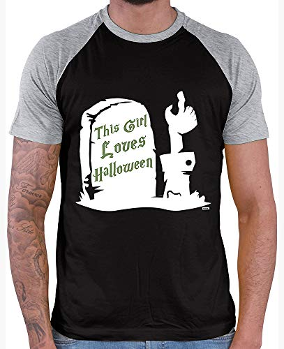 Kostüm Halloween Ninja Girl - HARIZ  Herren Baseball Shirt This Girl Loves Halloween Halloween Kostüm Horror Umhang Plus Geschenkkarte Black/Grey Melange L