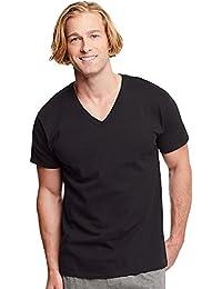 Hanes Classics Men's Traditional Fit ComfortSoft TAGLESS Dyed Black V-Neck Undershirt 3-Pack 7883B3 - Black - M