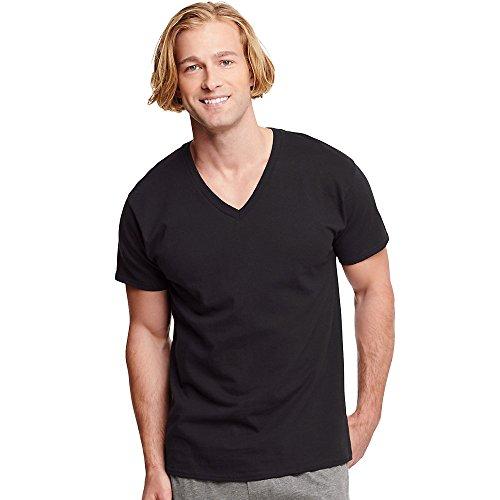 Hanes Classic Herren T-Shirt P3 (7883B3) mit V-Ausschnitt, Gr. L, Schwarz, 3er-Pack (Hanes V-ausschnitt Unterhemd)