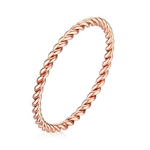 PAMTIER Frauen Edelstahl 1.5MM Dünnes Seil Hochzeit Band Ring Rose Gold Größe 52 (16.6) - Für Frauen Hochzeit-band-ring