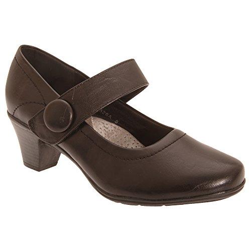 Senhoras Boulevard Sapatos De Salto Alto / Bombas Sapatos Mary Jane, A Altura Do Salto Médio, Velcro Castanho Escuro