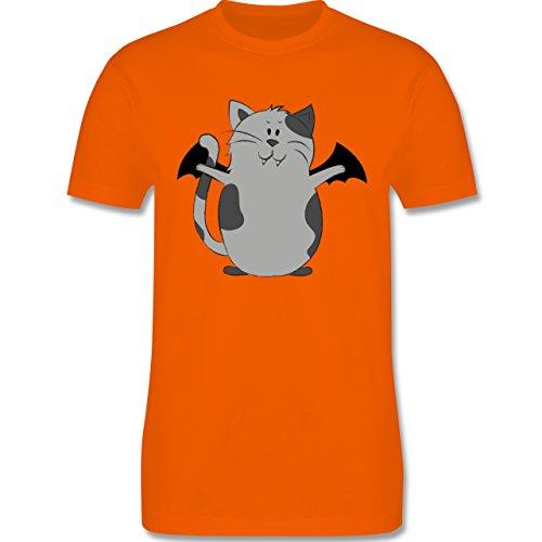 Shirtracer Halloween - Katze Halloween - Herren T-Shirt Rundhals Orange