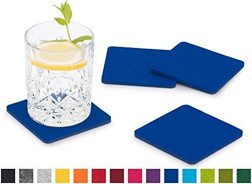 FILU Filzuntersetzer eckig 8er Pack (Farbe wählbar) blau - Untersetzer aus Filz für Tisch und Bar als Glasuntersetzer/Getränkeuntersetzer für Glas und Gläser rechteckig viereckig