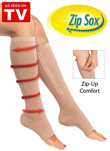 CareforYou Kompressionsstrümpfe mit Reißverschluss für offene Beine, Gr. L/XL, Beige