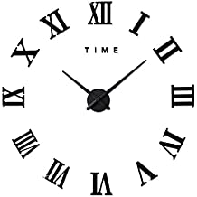 8943fbf5fb073 FAS1 Moderne DIY Grand Pendule Murale Chiffres Romains Big Montre Stickers  3D Horloge Montre Murale Home