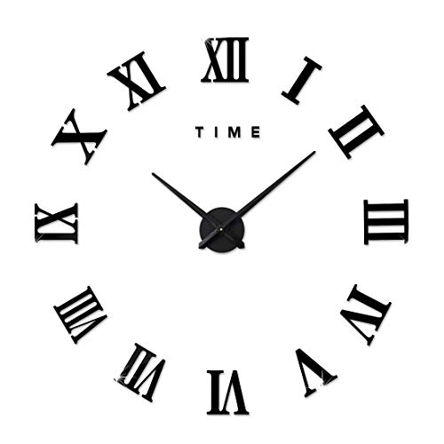 Fas1 grande orologio da parete moderno diy adesivo 3d stickers numeri romani orologio da parete rimovibile per casa ufficio, batteria non inclusa nero