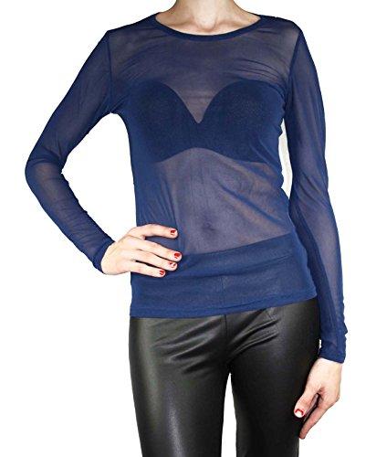 Maglia trasparente in tulle vintage da donna a manica lunga S M L blu 42