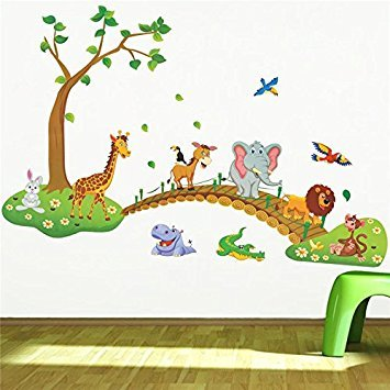 Clest F&H(R)Jungle Animal Across the Bridge Removable Cartoon Wall Sticker Wall Decal Wall Decor Wallpaper for Kids Children Room