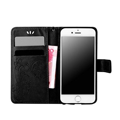 """iphone 6s Plus Coque, 6 Plus -5.5"""" Coque, MYTH Rétro Étui à rabat Magnétique Portefeuille Coque Flip Stand Protecteur Bookstyle Housse Pour iphone 6s Plus / 6 Plus -5.5"""" Blanc Noir"""