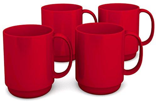 Ornamin Becher mit Henkel 300 ml rot 4er-Set (Modell 510) / Mehrweg-Becher Kunststoff, Kaffeebecher (Kunststoff-modell Boote)