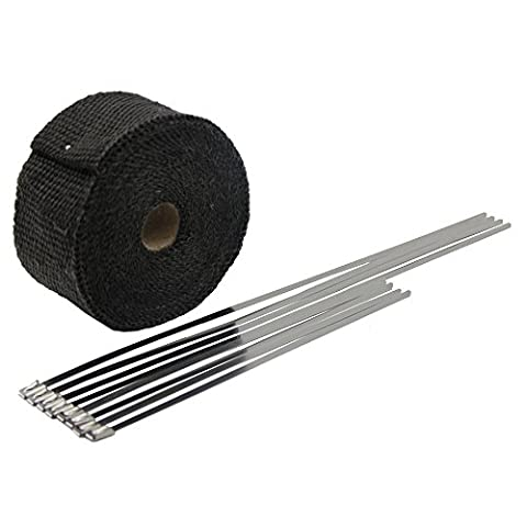 Black Exhaust Heat Shield Wrap with Ties for Pipe 16' Roll Fiberglass Motorcycle Exhaust Tape Thermal Protection