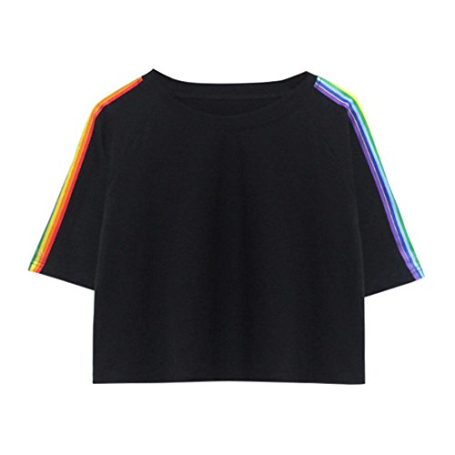 TUDUZ Damen Gestreift Crop Top Kurzarm Streifen Shirt Oberteile (Schwarz-A, M)