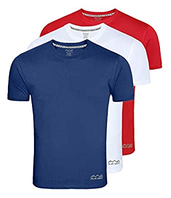 AWG Men's Dryfit Polyester Round Neck Half Sleeve T-shirts - Pack of 3 - AWGDFT-BU-RD-WH-S