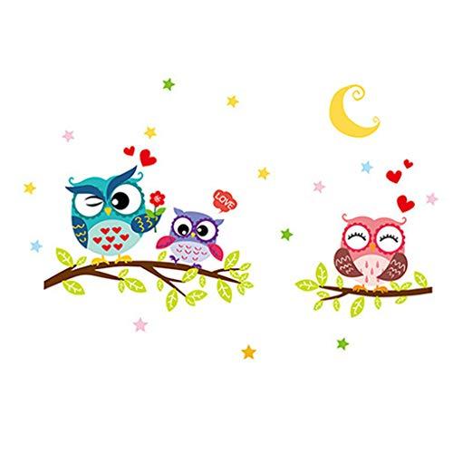 Jinzuke Eulen-Baum-Cartoon-Tier entfernbare Wand-Aufkleber für Kind-Raum-Haus-Dekor-Abziehbild-DIY