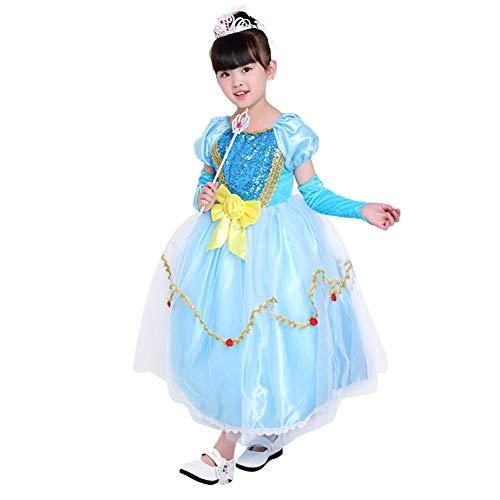Yissma Mädchen Halloween Kostüm Cosplay EIS und Schnee lieben Aisha EIS Fee Prinzessin Kleid (Eis Fee Kostüm)