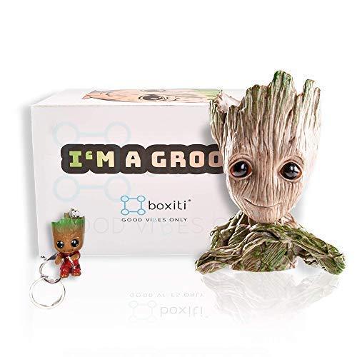 Boxiti New Baby Groot Spielzeugmodell-Wächter der Galaxie Groot Stifthalter-Pflanzer Groot Blumentopf Baby Modell-Spielzeug Wird mit dem kostenlosen Schlüsselanhänger geliefert