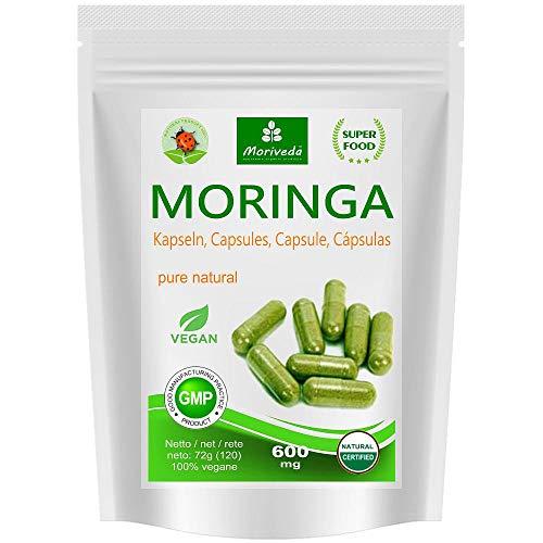 Moringa Kapseln 600mg oder Moringa Energy Tabs 950mg - Oleifera, vegan, Qualitätsprodukt von MoriVeda (120 Caps) -