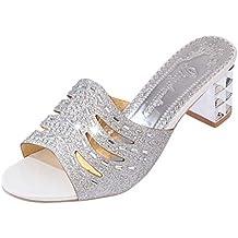 Kinlene Sandalias Zapatillas Zapatos de tacón Zapatos de Las señoras de la Moda de Roma Bling