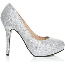 Eve - High Heels Stöckelschuhe silber Glitter Glitzer Stilettos Plateau  Pumps 8e2caa539a