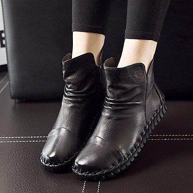 Stivali da donna Comfort PU Cowhide Spring Comfort casual Borgogna Marrone Grigio Nero Piatto Black