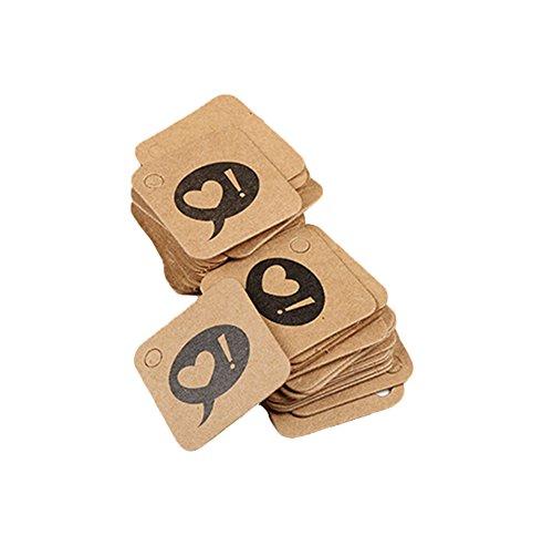 Platz Etikett mit Herz Bild Kraftpapier Anhänger Einzigartig Geschenkumbauten für DIY/Handwerksprojekt/Cupcake-Deko 3x3cm, DIY Etiketten Serie (Herz Bild) ()