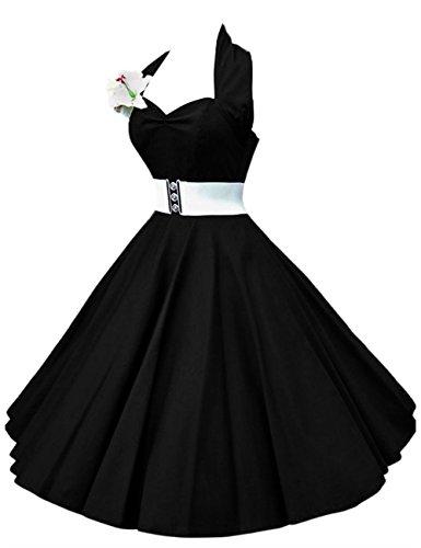 VKStar®Retro Chic ärmellos 1950er Audrey Hepburn Kleid / Cocktailkleid Rockabilly Swing Kleid Schwarz 4XL