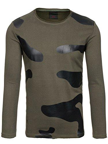 BOLF – Sweat-shirt – Manches longues – U-neck – Homme Vert