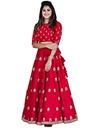 Ethnic Wings Women Banglory Silk Anarkali Semi-Stitched Salwar Suit (EW&ER_ER10628_Red_Free Size)