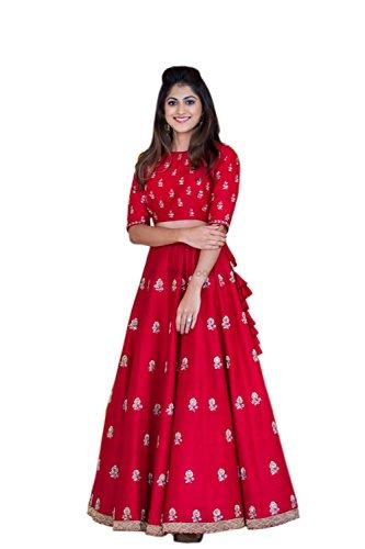 4Fashion Empire Women's Banglory Silk Anarkali Lehenga Choli (4Fe10628_Red)