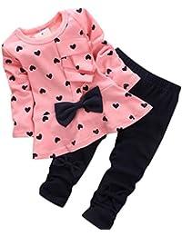 Vovotrade 0-24 Meses Nuevo Otoño Primavera Bebé Niña 2 Piezas Conjuntos En forma de corazón Impresión Corbata de moño Encantador Manga Larga Camiseta + Pantalones
