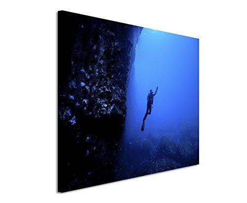 Paul Sinus Art Kunstfoto auf Leinwand 60x40cm Naturfotografie - Taucher Unter Wasser, Malta auf Leinwand Exklusives Wandbild Moderne Fotografie für Ihre Wand in Vielen Größen