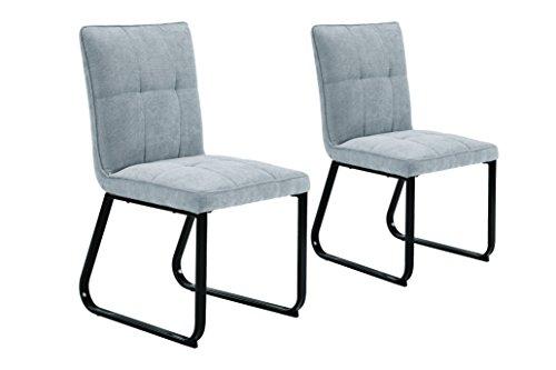 Homexperts Esszimmerstuhl im 2-er Set Tilda / 2X Gepolsterte Stühle in Klassischem Design/Bezug Vintage Kunstleder in hellgrau und pulverbeschichtetem Metallgestell in schwarz / 56x86x55cm (BxHxT) (Stuhl Klassischer)
