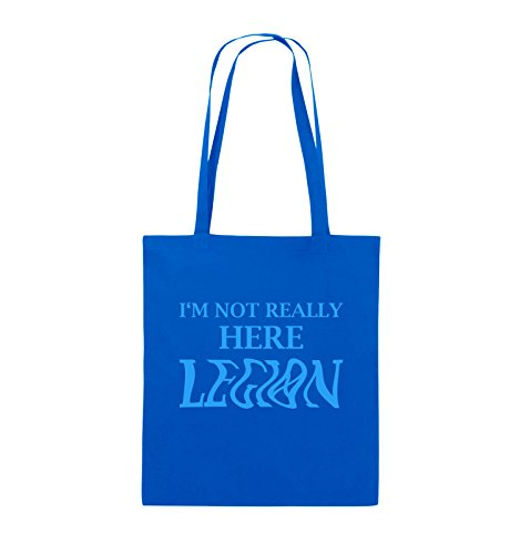 Borse Da Commedia - Im Non Proprio Qui Legione - Logo - Borsa In Juta - Manico Lungo - 38x42cm - Colore: Nero / Rosa Blu Royal / Blu