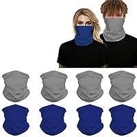 Headwear (8PCS) Seamless Balaclava Bandanas Face Mask,Headband Scarf Headwrap Neckwarmer for Women Men for Motorcycling, Riding, Outdoors, Fishing (Gray-4,Blue-4)