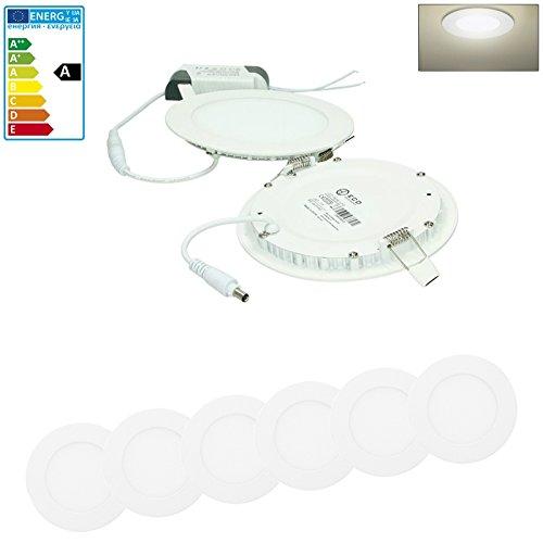 9w Led Spot Lampe (ECD Germany 6-er Pack LED Einbaustrahler 9W - Panel Deckenstrahler ultraslim - 220-240V - SMD 2835 - Ø14.2 cm - neutralweiß 4000K - runder Einbauleuchten Spot für Flur, Bad oder Küche)