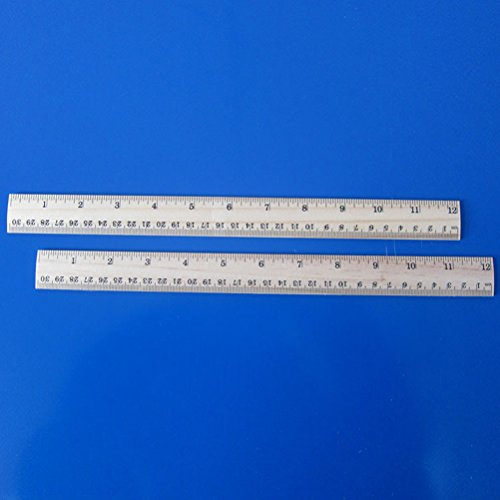 NUOLUX 20PCS Wooden Ruler Students Measuring Ruler with 2 Scale 12 Inches and 30cm