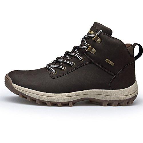 Fexkean scarpe da trekking stivali da escursionismo in pelle impermeabile per invernali uomo outdoor nero marrone cachi 38-46(572-1brown41)