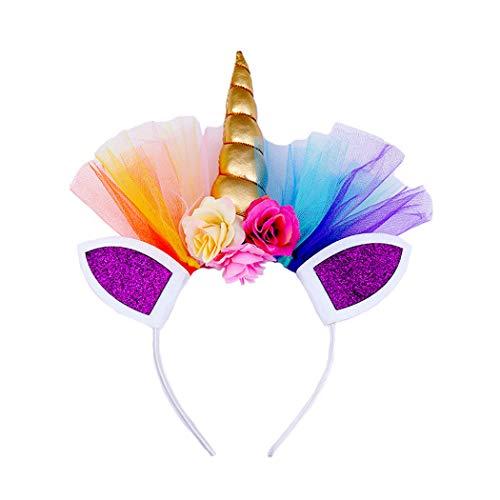 dressfan Einhorn Stirnband Mädchen Blume Stirnband Kind Party Geburtstag Stirnband Kind Headwear Cosplay Kostüm Haarschmuck für Weihnachten