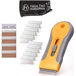 Haice Grattoir,Premium Verre/vitrocéramique plaque Grattoir nettoyant pour Plaque Vitrocéramique + 15 pièce Lames Métallique,Vitres/Miroir/Sol Nettoyage