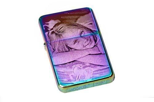 Edles Benzinfeuerzeug mit Gravur Regenbogen | rainbow lighter | Feuerzeug individuell mit Ihrem Lieblings Foto und Wunschtext graviert personalisiert | EINSEITIGE GRAVUR